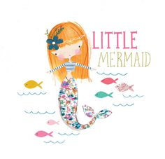 Little mermaid, kids design Mermaid Cove, Cute Mermaid, The Little Mermaid, Mermaid Pics, Mermaid Illustration, Graphic Illustration, Unicorns And Mermaids, Festa Party, Drawings