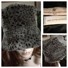 """Vintage Black & Gray Leopard Print Bucket Hat A beautiful faux fur Vintage Black & Gray Leopard Print Cloche Bucket Hat from La Maison De La Fausse Fourrure ~ Paris ~ SAKS FIFTH AVENUE ~ Made in France. Tuber backing, 100% cotton pile, lining 100% viscose. In wonderful preowned vintage condition. Smoke-free home. Inside circumference measures 21""""; 10"""" in brim diameter; 6"""" crown height. Please know your head circum. measurement before ordering. The mannequin is a display model only & not…"""