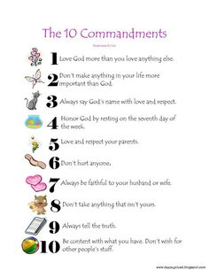 10 commandments for kids | After surfing the web for fun 10 Commandments items to share I have ...: