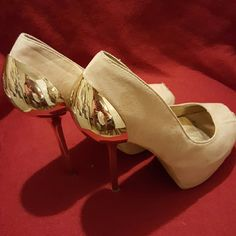 """Liliana Sexy Nude Suede Shoes , Gold Heel Detail! Gorgeous nude suede peep toe  heels with sexy gold back & heel detailing ! Very Chic & Sexy & in great pre'loved condition , these were one of my favorite pairs ,  they just look sexy with ANYTHING ! Heel height 6"""" , Size 10 ladies ! Thanks for peeking ! Liliana Shoes"""