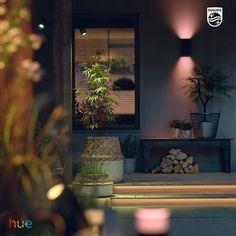 Smart outdoor lighting – Wall lights, LED strips and spot lights. Outdoor Garden Lighting, Outdoor Light Fixtures, Porch Lighting, Spot Lights, Wall Lights, Strip Lighting, Lighting Ideas, Colorful Garden, Led Strip