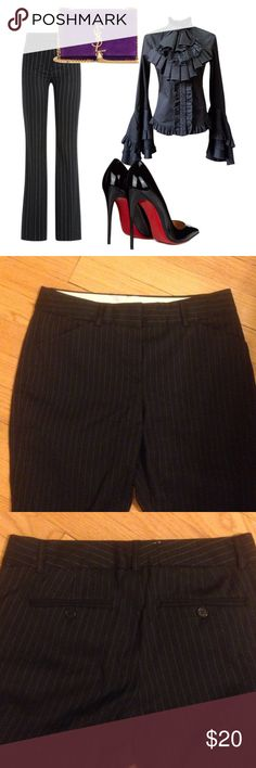 Theory black pinstripe pants Waist 29 hips 34 inseam 28 cotton blend with some stretch Theory Pants
