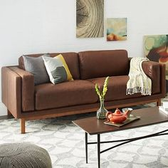 Dekalb Leather Sofa #westelm   Dream sofa!mwould like a darker or even black. Love the minimalist modern style