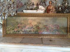large antique oil painting hydrangeas
