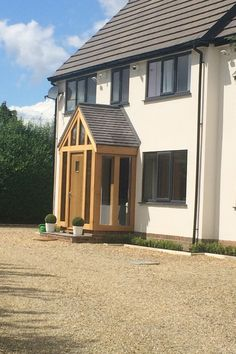 Oak Frame Yorkshire - Oak By Design are dedicated to creating a customer experience and exceeding your expectations. Specialists in Oak Framed Buildings Front Door Canopy, Front Door Porch, Porch Doors, Front Porch Design, Porch Uk, House With Porch, House Front, Porch Designs Uk, Enclosed Front Porches