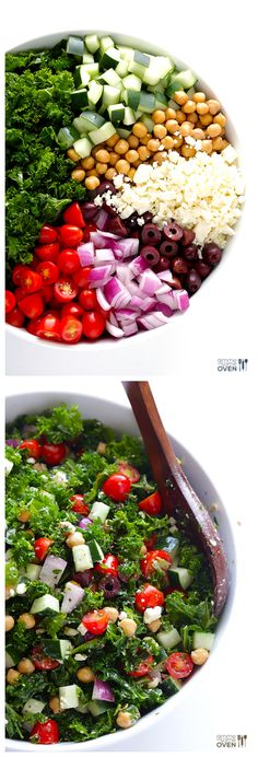 Chopped Kale Greek Salad -- fresh, delicious, and easy to make! | gimmesomeoven.com #recipe.  Make it vegan with a sub for the feta.