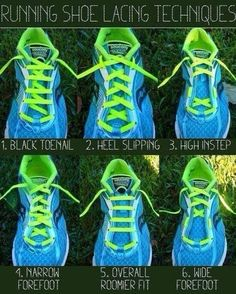 I Like Running - Running shoe lacing techniques. great tips for runners. Couple Shoes, Shoe Lacing Techniques, Gas Pumps, Running Tips, Running Training, Running Schedule, Running Plan, Start Running, Endurance Training
