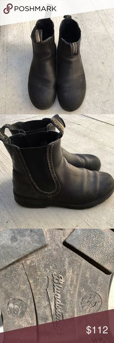 "Black Leather Women's Blundstones Black leather Blundstones. Excellent condition. AU 5 (US woman's 8 or EU 38.5). I'm a 7.5, they're ok with thick socks, but with normal socks better for a true 8.  Minor wear of leather at toe, soles are great. Outer sole length is about 10.5"" insole (taken out of boot) about 10"" Blundstone Shoes Ankle Boots & Booties"