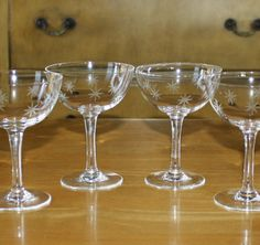 Vintage Set of 4, Quartex Stardust, Starburst Champagne, Tall Sherbet, Atomic Glasses