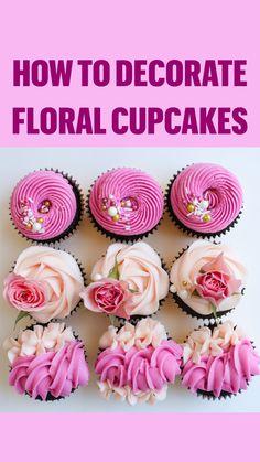 Floral Cupcakes, Fancy Cupcakes, Fondant Cupcakes, Yummy Cupcakes, Cupcake Cakes, Spring Cupcakes, Pretty Cupcakes, Rose Cupcake, Wilton Cakes
