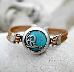 Bohemian Leather Bracelet, Turquoise, Silver, Silk Road, Copper, Tribal, South Western