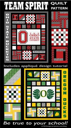 Team Spirit Quilt Pattern to use for any team or school.  Ohio State Buckeyes, Oregon Ducks, etc.  Includes applique pattern design tutorial to create your own applique from any logo