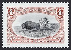 United States Scott #3209c (18 Jun 1989) Trans-Mississippi Centennial issue: Indian hunting buffalo (bison). Originally, the Native Plains Indians of North America used just about every part of the American bison (commonly known as the American buffalo) for their daily life (food, knives, tools, clothing, etc.). Approximately 50 million bison roamed North America. By the 1890's, the European settlers had almost eliminated the American bison (buffalo) which in turn destroyed the Indian…