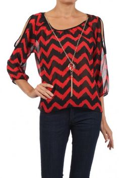 """Jagged missoni zig-zag printed semi-sheer 3/4ths sleeve top with cut out sleeves No need for everyone to look the same. The secret is to wear what suits you best!""""  ― Chica Umino salediem has the best selection of fall boutique fashion.  Shipping s FREE!!"""
