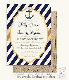 Printable invitations - nautical invitation - anchor invitation - baby shower invitation - Freshmint Paperie by FreshmintPaperie on Etsy https://www.etsy.com/listing/129038776/printable-invitations-nautical