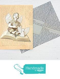 Weihnachtskarte für Bücher Freunde und Literatur Begeisterte: Schutzengel für Leseratten, Karte aus Recycling Papier mit handgemachtem Umschlag aus Buchseiten von der Atelier Dorothea Koch https://www.amazon.de/dp/B01LZM0WWY/ref=hnd_sw_r_pi_dp_nQAjybAHNG15N #handmadeatamazon