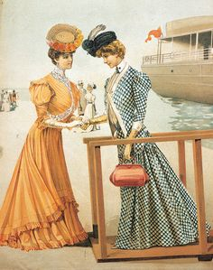 Beautiful summer fashions from 1900 (I just love her little purse!). #Edwardian #dress #fashion #1900s