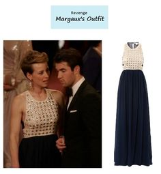 "On the blog: Margaux's (Karine Vanasse) crystal embellished dress | Revenge – ""Disgrace"" (Ep. 316) #tvstyle #tvfashion #outfits #fashion"