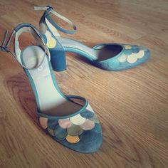 """Camper heels Super unique and fun Camper heels. Base color is a grayish blue, with white, pink, yellow, and brown detail. Heel hight is between 2 and 2 1/2"""". Will consider all offers! Camper Shoes Heels"""