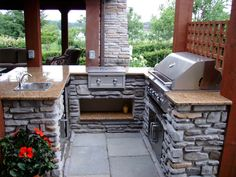 U Shaped Grill And Bar Island Outdoor Stone Fire