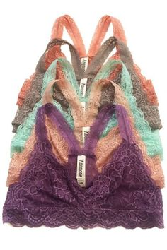 Feel the comfort of this stretchy gorgeous lace racerback bralette. It is totally sweet and feminine. This women's lace bralette offers good support yet is lightweight enough to run about. Features a