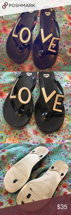 """Mel by Melissa """"LOVE"""" jelly sandals Sweet smelling Mel by Melissa jelly sandals- very comfortable! Melissa Shoes Sandals"""