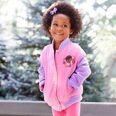 Doc McStuffins Varsity Jacket for Girls - Personalizable/Disney Store Doc Mcstuffins, Disney Merchandise, Rain Jacket, Windbreaker, Ann, Costumes, Store, Birthday, Girls
