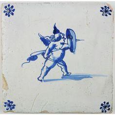 Cupid wielding a shield Delft tile