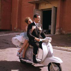 Gina Lollobrigida and Rock Hudson while filming Come September (Ostia, Lazio, Italy – 1960)