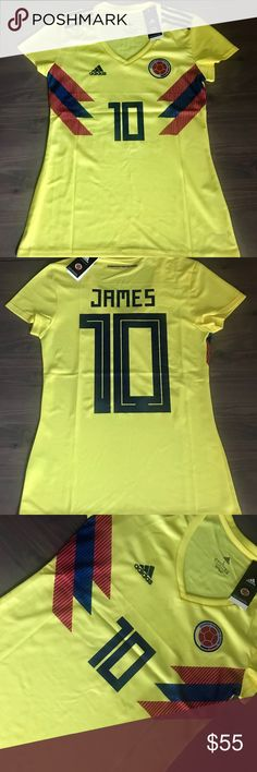 Women Colombia James #10 Soccer Jersey Adidas Women Colombia  National Team James #10 Soccer Adidas jersey men 17/18 World Cup adidas Tops Tees - Short Sleeve