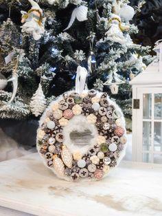 White Christmas door hanger / XMAS wreath / Adventi kopogtató