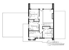 Plan de Étage Maison cubique moderne, bureau à domicile, garde-manger, aire…