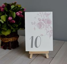 Sketched Roses Table Numbers Flowers Peonies Wedding Reception Flat Number 4x6 Or 5 X7 Rose Peony Fl Botanical Affordable