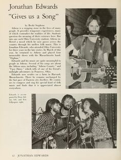 "Athena yearbook, 1974. ""Jonathan Edwards 'Gives us a Song'."" :: Ohio University Archives"