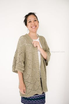 FREE crochet pattern for a Summer Diamonds Kimono Cardigan, using We Are Knitters Cotton Wool | www.1dogwoof.com