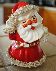 Vintage Lefton Santa Claus Ceramic Spaghetti trim Sack Planter Winking Figurine