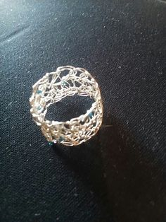 Crochet silver, and blue crystals. Ring