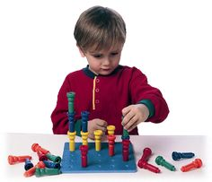 The Tall Stacker Pegs and Pegboard Set great for fine motor skills, colors, patterning and more.  $14.99