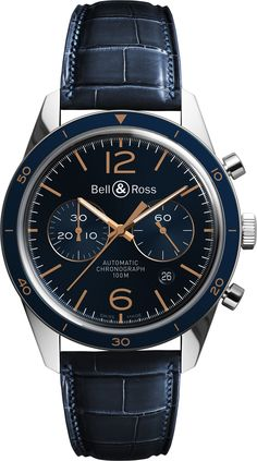 Bell & Ross unveils two navy + gold watches inspired by Naval officers' uniforms to join the Vintage BR Aéronavale collection: a chronograph Men's Watches, Fine Watches, Luxury Watches, Cool Watches, Sport Watches, Watches For Men, Bell Ross, Mechanical Watch, Beautiful Watches