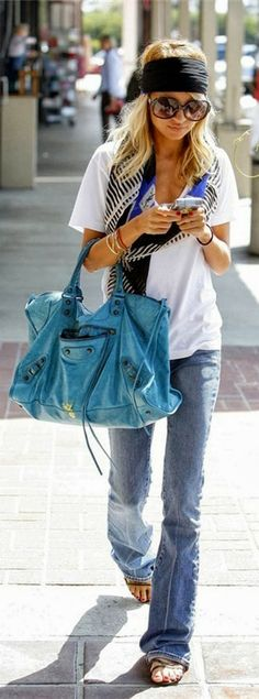 I love everything but the nasty headband. Relaxed jeans. Relaxed t-shirt. Cute scarf. Colorful purse.