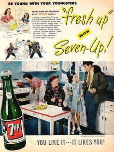 A classic all-American 1940s family enjoys a refreshing Seven-Up in this charming vintage soda pop ad