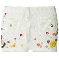 Emilio Pucci Poppy Rocks Embroidered Crochet Shorts ($950) ❤ liked on Polyvore featuring shorts, white, embroidered shorts, rock-revival shorts, emilio pucci, white crochet shorts and tie-dye shorts