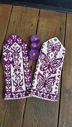 Ravelry: Papilio mittens pattern by JennyPenny Double Knitting, Loom Knitting, Knitting Socks, Knitting Stitches, Hand Knitting, Knitting Patterns, Crochet Patterns, Knitted Mittens Pattern, Knit Mittens