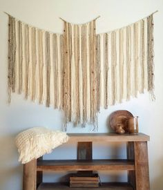 Large Tapestry Wall Hangings yarn wall hanging. large. tapestry. cream. neutral. beaded