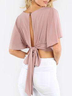 Online shopping for Flowy Crop Wrap Top MAUVE from a great selection of women's fashion clothing & more at MakeMeChic.Shop Tops in many colors and styles and check out our daily updated new arrival women's Tops & more at MakeMeChic. Cropped Tops, Blouse Patterns, Blouse Designs, Vetement Fashion, Wrap Shirt, Blouse Online, V Neck Tops, Diy Clothes, Fashion Dresses