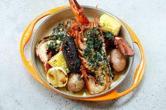 Jonathan Waxman's '80s-era Jams Redux Will Open This Week. Lobster, blood sausage, garlic butter, corn, and potatoes.