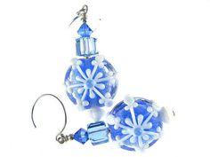 Snowflake Earrings Christmas Earrings Blue by JadjusJewelry, $33.00