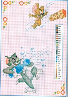 Tom and Jerry and a bottle of sparkling wine cross stitch pattern - free cross stitch patterns crochet knitting amigurumi Cross Stitch For Kids, Cross Stitch Baby, Counted Cross Stitch Patterns, Cross Stitch Designs, Cross Stitch Embroidery, Kids Patterns, Crochet Patterns, Tom Et Jerry, Everything Cross Stitch