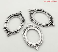 5  Antique Silver Oval Shaped Cameo Cabachon by SkullButtonry, $5.95
