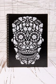 Floral Skull Notebook at Urban Outfitters
